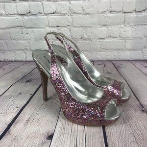Audrey Brooke Pink Silver Glitter Slingback Shoes